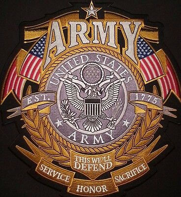 """US ARMY LARGE """"ARMY""""  Back Patch  CUSTOM Military / Biker patch USA / Vet Seller"""