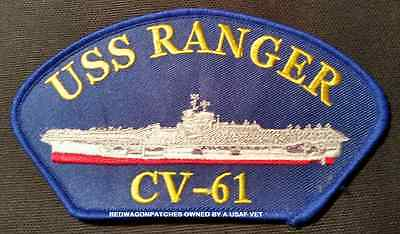 USS RANGER  CV-61 US Aircraft Carrier HAT Patch Navy Blue twill Patch