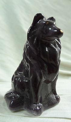 Sitting Collie Air Brushed Scorpion Solid Glass Mosser Sheltie Dog
