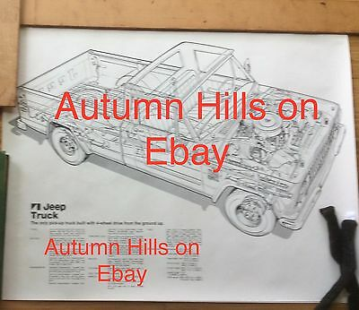 "American Motors Jeep Pick UP poster - ""engineering view""  '70s!!!!! Original !!!"