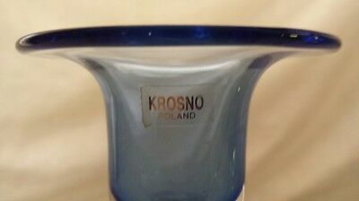 Krosno Polish Blue and Clear Glass Vintage Candlesticks