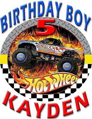Hot Wheels Fire Tire Birthday Boy Shirt Add Name AGE Personalized Family Party
