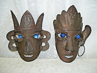 Antique Native Metal Mask with blue marble eyes Lot of two