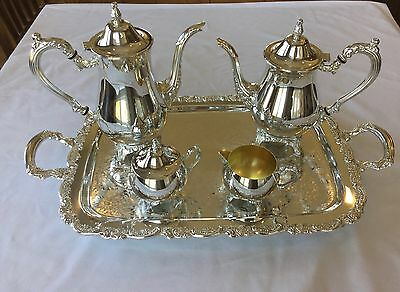Vintage Oneida Du Maurier Silverplate Coffee/tea Set With Tray - 6 Pieces