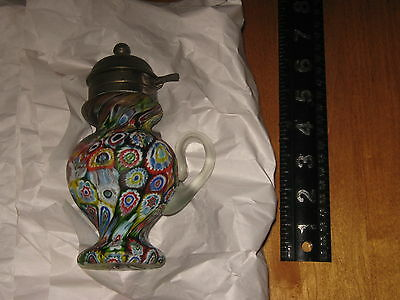 Vintage Millefiori cruet with metal pour spout and clear glass handle