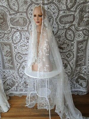 Antique Lace-Lovely 19Thc. Tambour Lace Wedding Veil