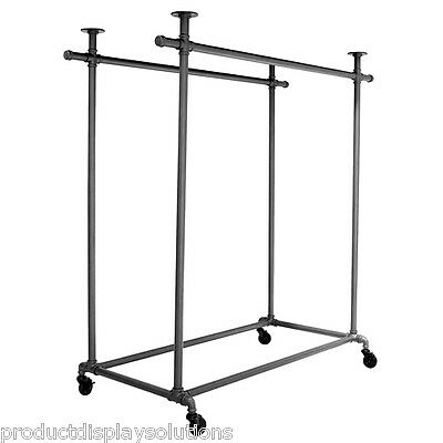 Pipe Pipeline Double Rail Rolling Clothing Garment Display Ballet Rack | GREY