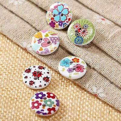 50x Set Flower Pattern Wooden Buttons Round Mixed 2 Holes Sewing Knitting Crafts