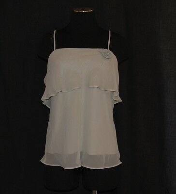 VTG 90s Flirty Frilly Sheer Layered Spagetti Straps Cami Shirt Blouse Top XL