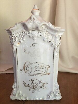 """Antique Stunning Porcelain  """"GRIES""""  Grease Drippings Canister w/Gold Trim"""