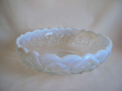 "Vintage Clear Opalescent Glass Bowl 9"" Diameter"