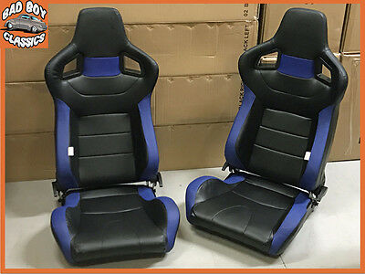 Pair BB6 Reclining Titling Car Bucket Sports Seats + Universal Runners