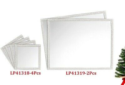 Mirror Glass Silver Glitter Placemats Coasters Set Dining Table Wedding Gift