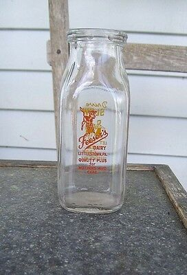 Two color pyro 1/2 pint Feeser's Dairy Littlestown PA milk bottle COW VINTAGE