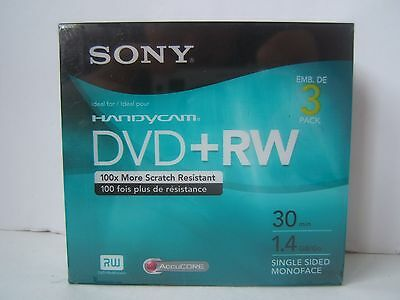 Sony DVD+R Blank Discs for Handycam Sealed 3 Pack 1.4 GB 30 Min Brand New