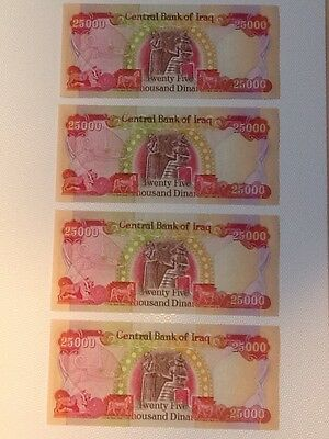 100,000 Iraqi Dinar Uncirculated 4x 25,000 Dinar Notes