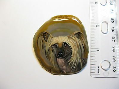 chinese crested dog pin/pendant on agate