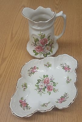 James Kent Old Foley Harmony Rose Pitcher and Candy Dish Set. Made in England.