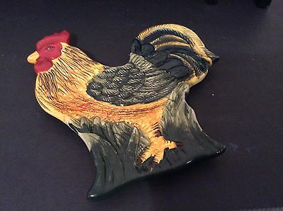 Colorful Hand Painted Rooster Double Spoon Rest