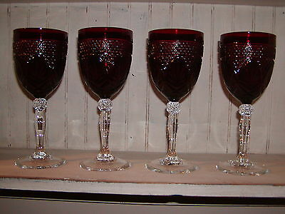 Set 4 - Ruby Durand Cristal D'arques'' Wine/water Glasses France Clear Stem