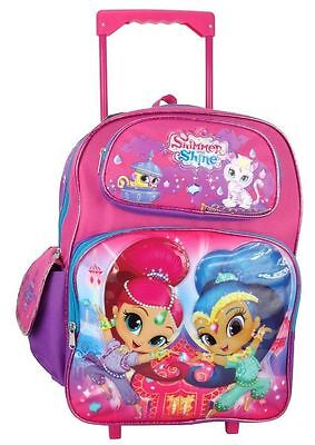 """Nickelodeon Shimmer And Shine 16"""" Canvas Pink & Purple School Rolling Backpack"""