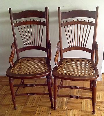 Antique Pair of Oak Wood Spindle-back Chairs with Caned seats