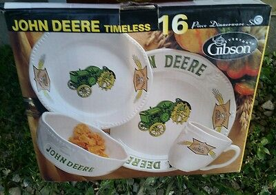 John Deere Everyday Timeless Dinnerware Gibson 16 Piece Four Place Settings New