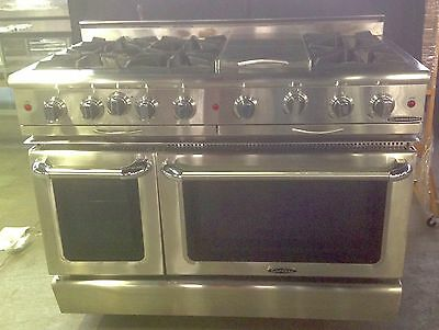 "Capital Equipmt Commercial 48"" Stainless Steel Range: 2 Ovens, 6 Burners Grill"