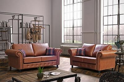 new Oakland sofa in tan, faux leather 3 or 2 seater sofa couch settee, foam seat