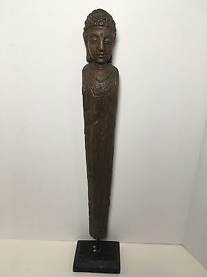 "Thai Buddha Phra Pidta Eyes Closed Faux Wood Resin Statue 21"" Home Alter"