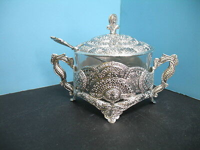 Sugar pot bowls silver color antic antique look with glass pot and spoon.