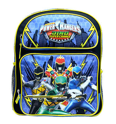 """NEW Power Rangers Dino Super Charge Boys 14"""" Canvas Blue School Backpack"""