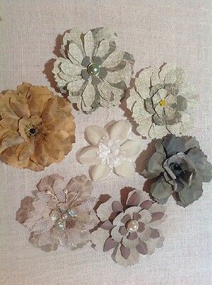 Big Hand Made Flowers X6 (7.5cm )Round Embellishments For Scrapbooking Ect