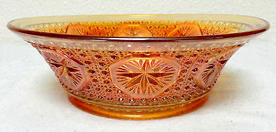 14170 Vintage Imperial Marigold Carnival Glass Berry Bowl Star Medallion Pattern