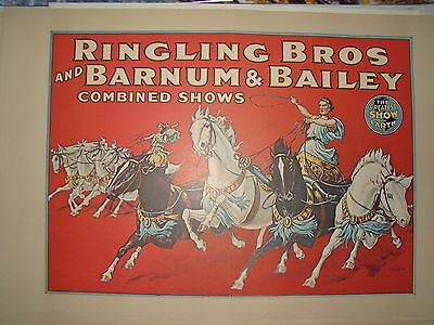 VTG 24x36 1970's Ringling Brothers Barnum Bailey Circus Poster - Horses Chariot