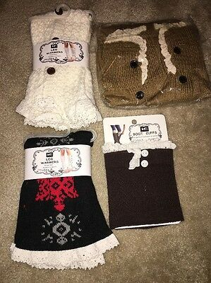 Lot Of 4 Women's Boot Cuffs And Leg Warmers In Assorted Colors