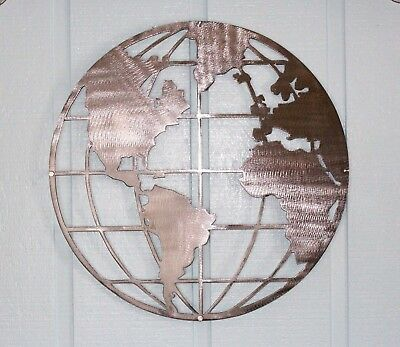 "Metal Art World Map Globe 26"" Polished Steel with Stand Offs"
