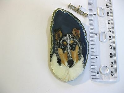 smooth collie dog brooch/pendant on agate