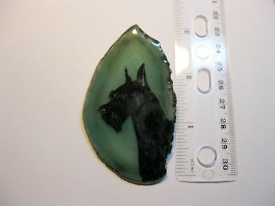 standard schnauzer dog brooch/pendant on agate