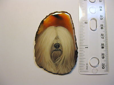 tibetan terrier dog brooch/pendant on agate