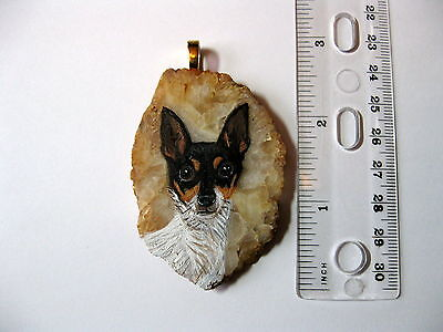 toy fox terrier pendant on agate