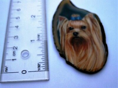 yorkshire terrier pendant on agate