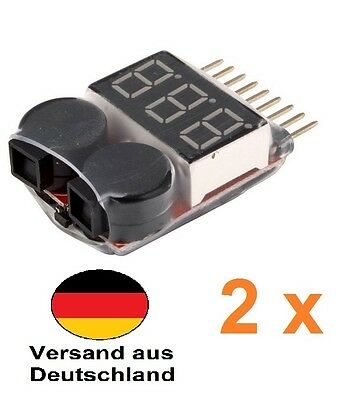 2 Stück Lipo Alarm Warner Spannungs Tester 1S-8S Low Voltage Buzzer