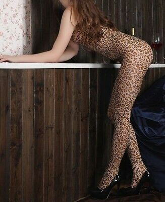 25# Leopard Catsuit Bodystocking Dessous Nylon Netzbody Fishnetz Club Dance Wear