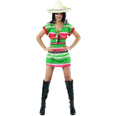 Mexican Fiesta Costume Ponco Fancy Dress Womens Adult Halloween Party