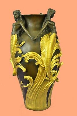 Art Nouveau Gold Patina Mythical Mystery Mermaid Vase Bronze Sculpture Statue