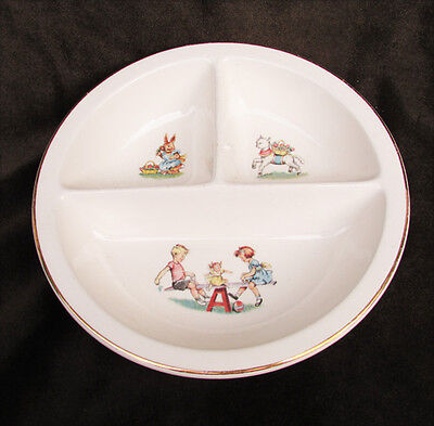 Salem China divided baby dish Margery Daw See Saw design gold edge