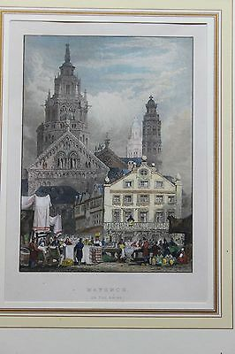 Mainzer Dom Mayence on the Rhine Kolorierter Stahlstich um 1840