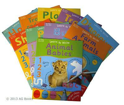 Learn to Write 10 Book Collection Set Pre School Learn Wipe Clean Animals New