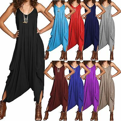 Ladies Womens All in One Summer Beach Sleeveless Baggy Romper Harem Jumpsuits